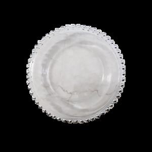 Silver dot plate/ シルバードットガラスプレート 20.5cm