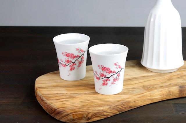 【SP3J52-11】『温度で変化する酒器』『白(小)温感カップ』『桜』 * 桜 白 酒器 ユニーク 浮かび上がる絵 温感 ギフト 温度で変化 綺麗 キレイ かわいい