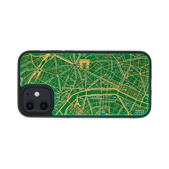 FLASH Paris回路地図 iPhone 12 mini ケース  緑【東京回路線図A5クリアファイルをプレゼント】