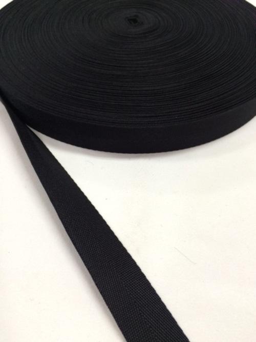 ナイロン 杉綾織(綾テープ) 22mm幅 黒 1mカット