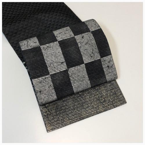 ★ 美品 袋帯 ろうけつ 正絹 黒 銀彩 ★ 3144