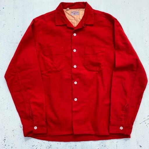 50's WASHINGTON DEE CEE フランネルオープンカラーシャツ レッド 赤 美品 大統領タグ Mサイズ  希少 ヴィンテージ BA-849 RM1218H