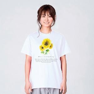ひまわり 花柄 Tシャツ メンズ レディース かわいい 白 夏 プレゼント 大きいサイズ 綿100% 160 S M L XL
