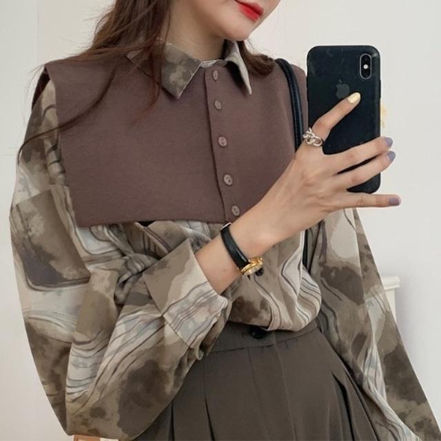 ショール付き 総柄デザインシャツ(2color) B210307