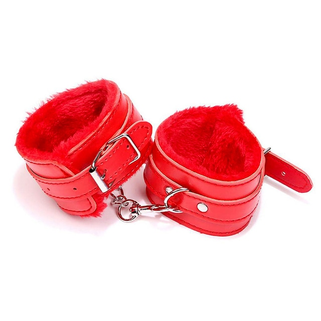 WC80726RED ハンドカフス赤 ファー付きボンデージレザーハンドカフス