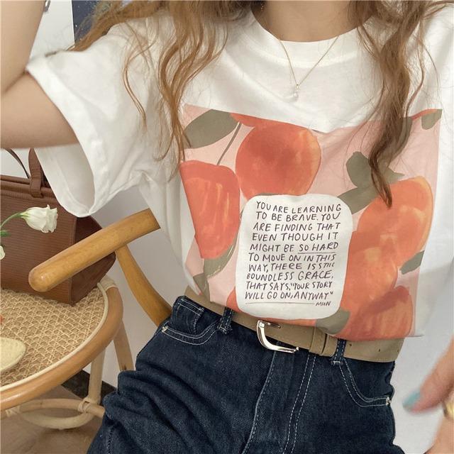 レトロプリントシンプルTシャツ S3714