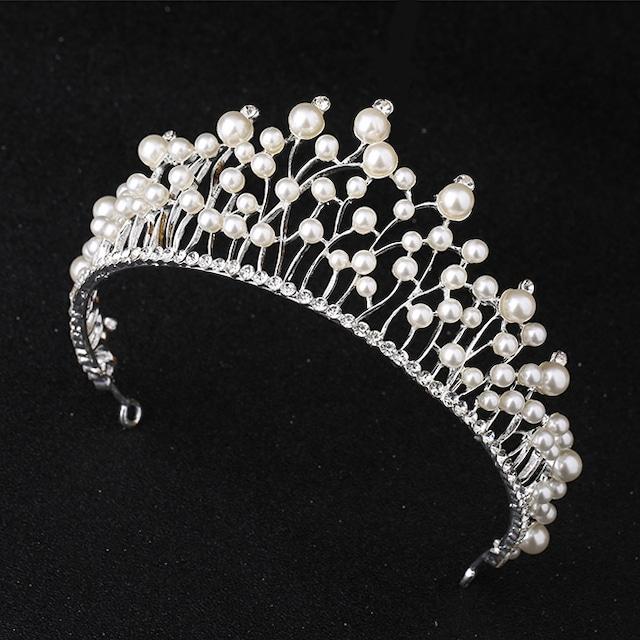 パール 散りばめ 王冠 ティアラ 結婚式 イベント パーティー プリンセス ヘアアクセ
