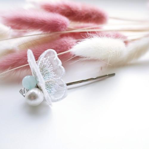蝶刺繍(ホワイト)×コットンパール ヘアピン