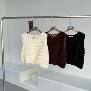 バブルグリットノースリーブシャツ | ノースリーブ 韓国服 ショート丈 夏