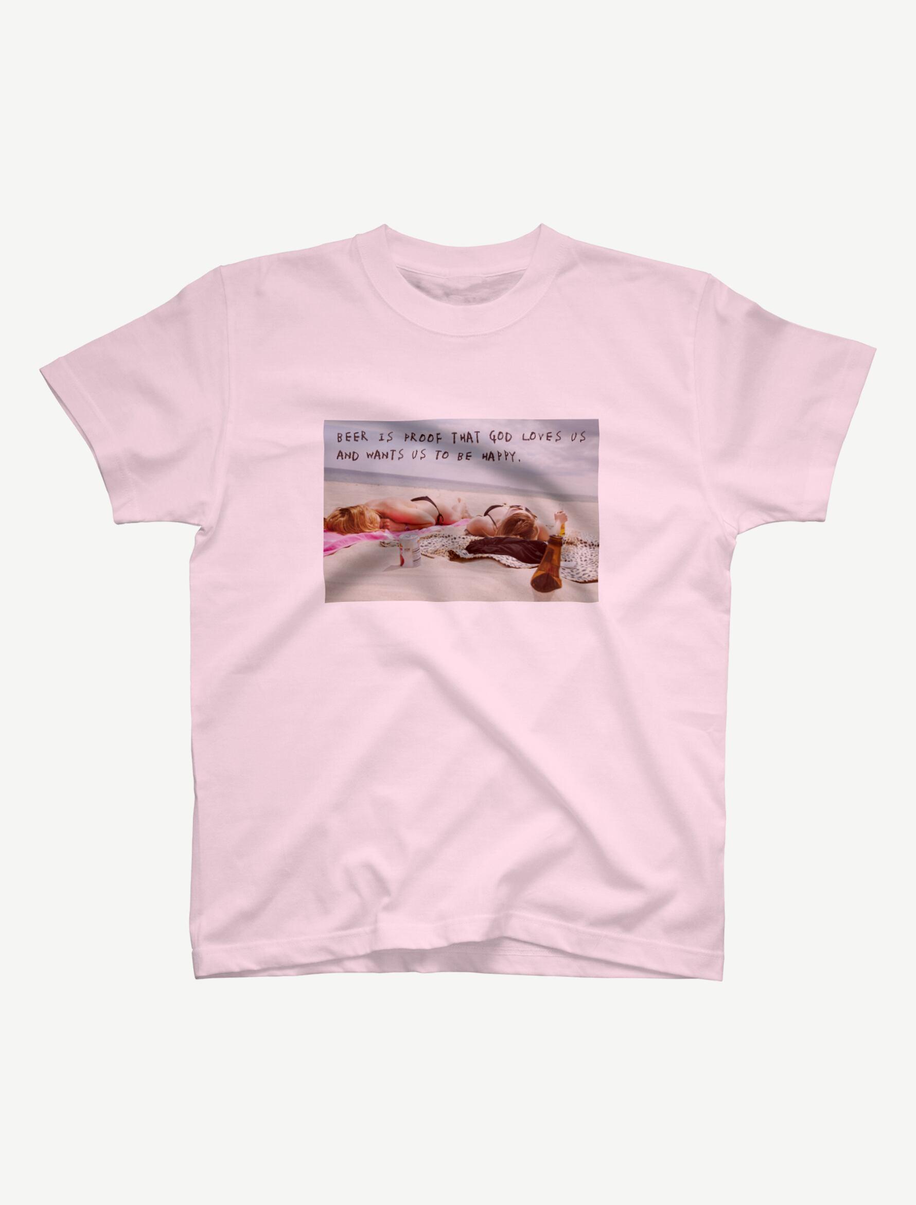 【悩み無用の開放ビーチ】Tシャツ(ライトピンク)