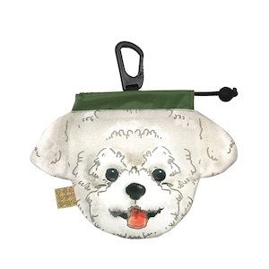 犬のウンチバッグS【トイプードル】 (白色)  防臭生地 / デオドラント加工布使用