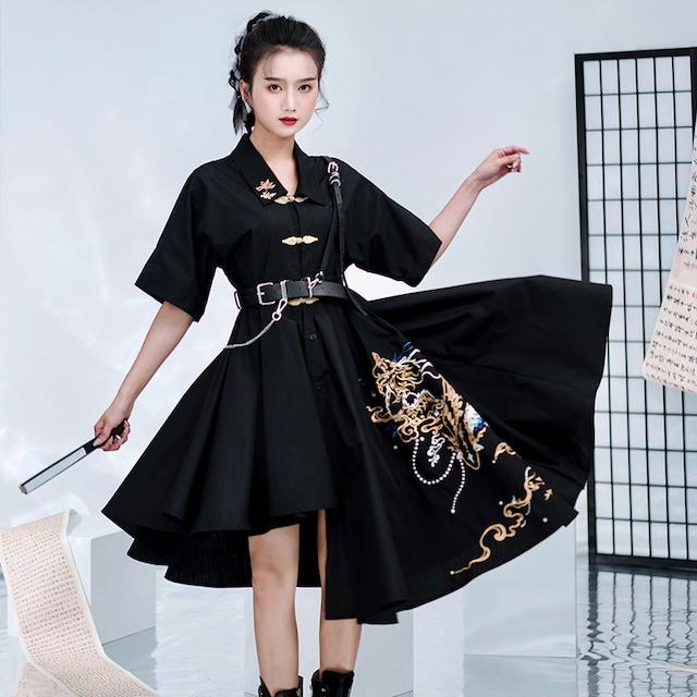 【卿棠シリーズ】★チャイナ風ワンピース★ 刺繍 不規則 独特なデザイン かっこいい ブラック 黒い