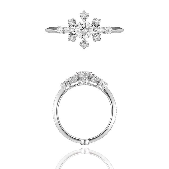Diamond Bouquet Ring / Pt900 3EX H&C Diamond