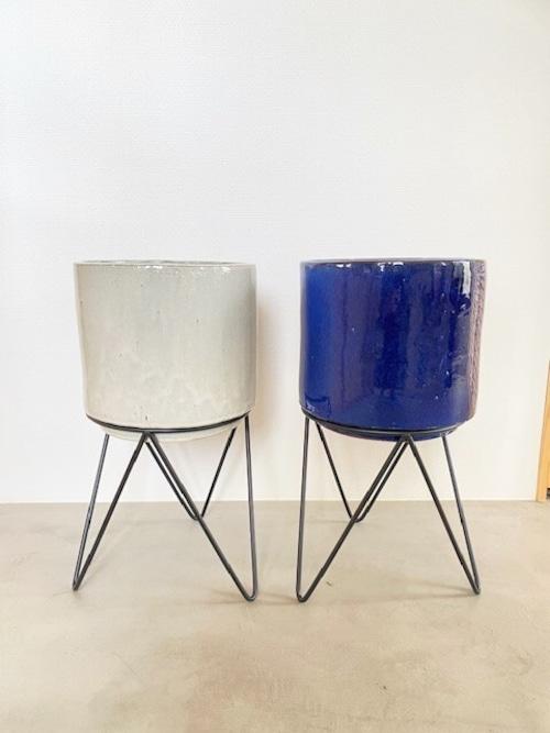 陶器鉢カバー&アイアンスタンド(クリーム / ブルー) ※7号鉢サイズ