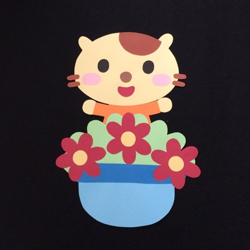 誕生表に使えるネコ(赤)の壁面装飾