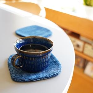 うしじま縫製   武州正藍染 四角コースター 二重刺子
