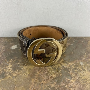 .GUCCI GG PATTERNED LOGO BUCKLE LEATHER BELT MADE IN ITALY/グッチインターロッキングGG柄ロゴバックルレザーベルト2000000052410