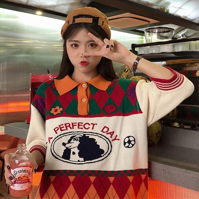【トップス】レトロ七分袖チェック柄プリントボタンPOLOネックセーター43008571
