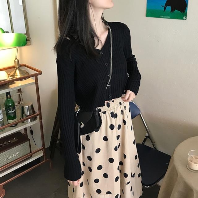 レトロガーリー♡Vネックカーディガン+ドット柄スカート A1035