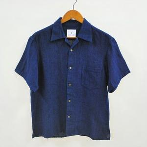 <OSOCU> Bingo-fushiori open collar shirt 希少な綿麻節織で作る涼しさと快適さを追求した藍染夏シャツ