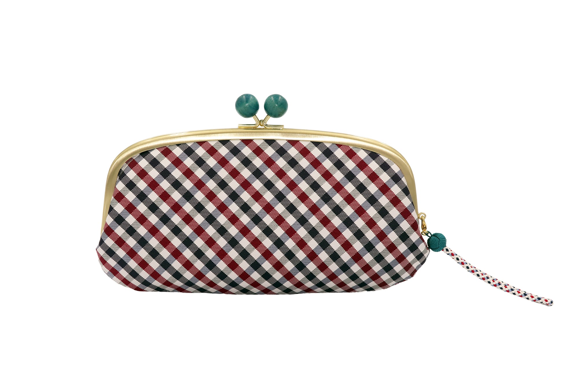 Atelier Kyoto Nishijin/西陣織シルク・がま口長財布・京組紐ストラップ付・ギンガムチェック・ネイビー・日本製