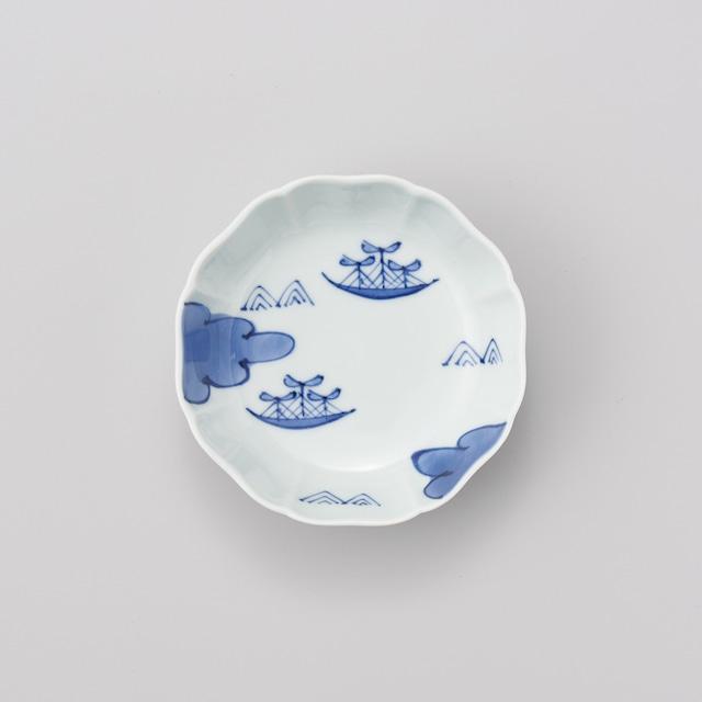 """【青花】""""船と異人"""" 八方割小鉢(雲に帆船)"""