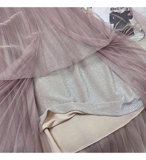 【再入荷】全4色裏地ラメチュールプリーツスカート