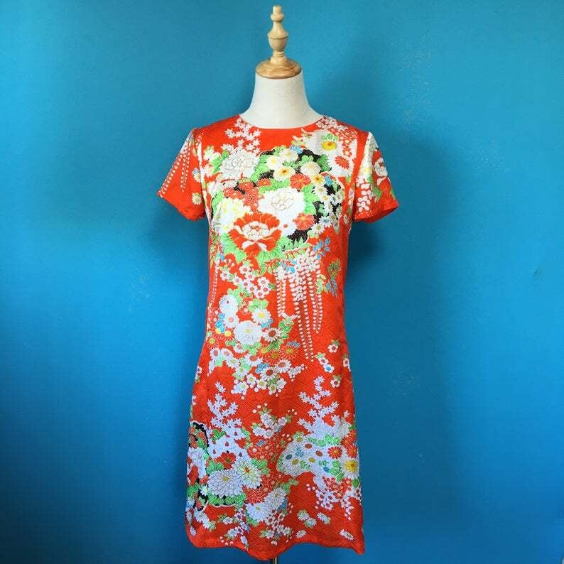 Vintage retro kimono dress/ US 6 アセテート