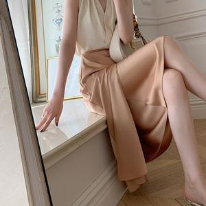 2色/ハイウエストサテンラップスカート ・2312
