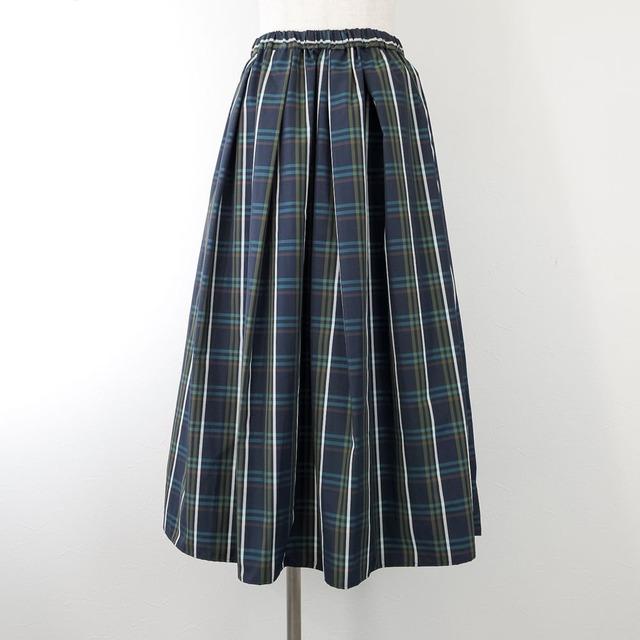 【ma couleur/マ クルール】先染めメモリーチェックタック&ギャザースカート(ネイビー)
