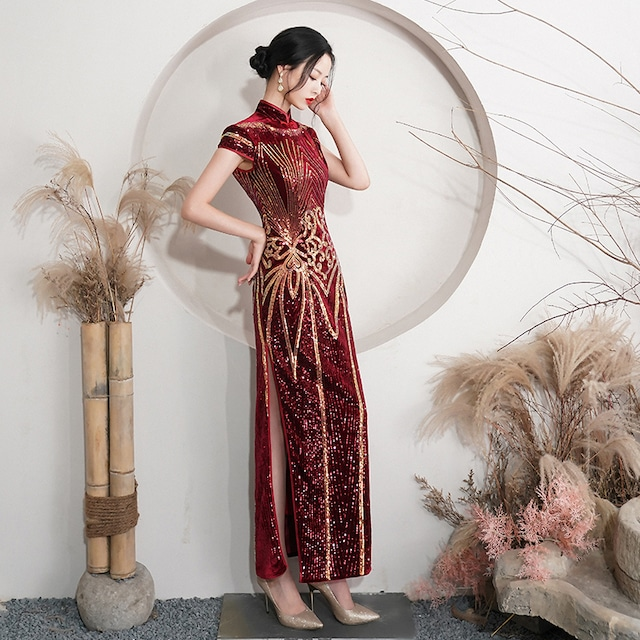【红舍シリーズ】★チャイナドレス★ スパンコール ベルベット 成人式ドレス 赤 ロングワンピース 大きいサイズ