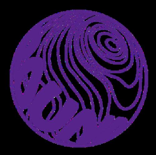 球体ロゴステッカー直径10cm【パープル】
