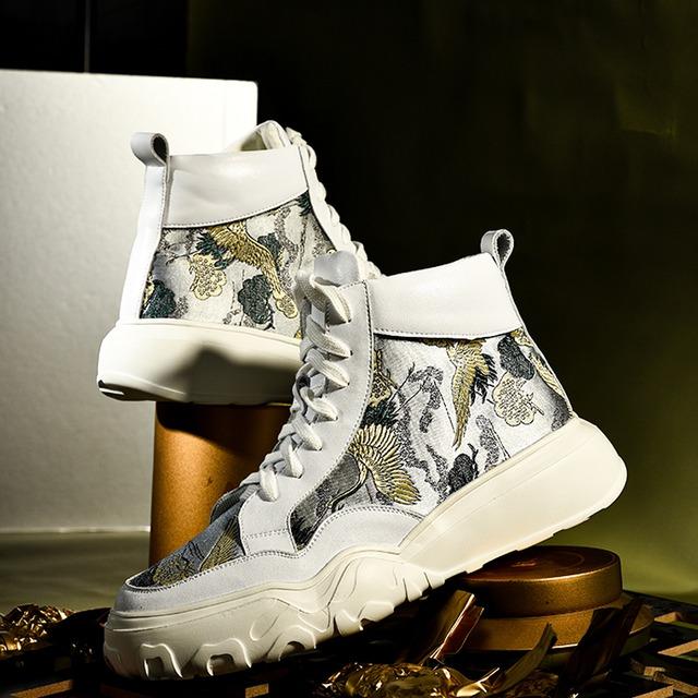 【如旧シリーズ】★靴★ メンズ 刺繍 鶴 つる ブーツ チャイナ風靴 カジュアルシューズ サイズ39 40 41 42 43 44
