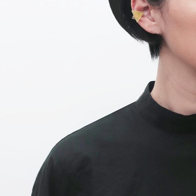 藍染/泥染/コットンパール/幾何学片耳用ピアスイヤリング/E-7_S_AW