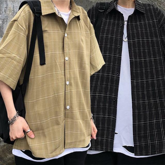 ユニセックス シャツ 半袖 メンズ レディース チェック柄 オーバーサイズ 大きいサイズ ルーズ ストリート TBN-616427537313