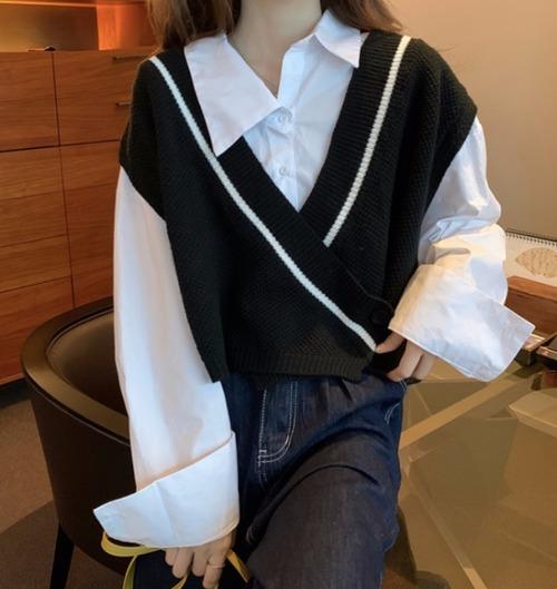 【送料無料】ベスト 秋 Vネック ショート ニット セーター レディース アウターウェア 可愛い 韓国スタイル