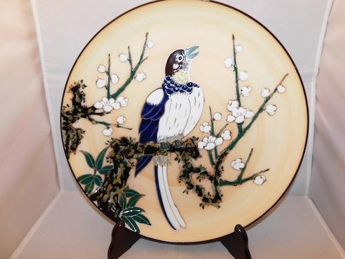 七宝皿(ホトトギス) porcelain&cloisonne enamel plate
