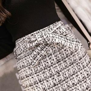 ミモレ丈リボンベルトツイードスカート