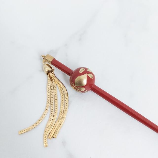 【デッドストック】ミニ玉かんざし 暗赤色×金色 蝶々 ヒラヒラ