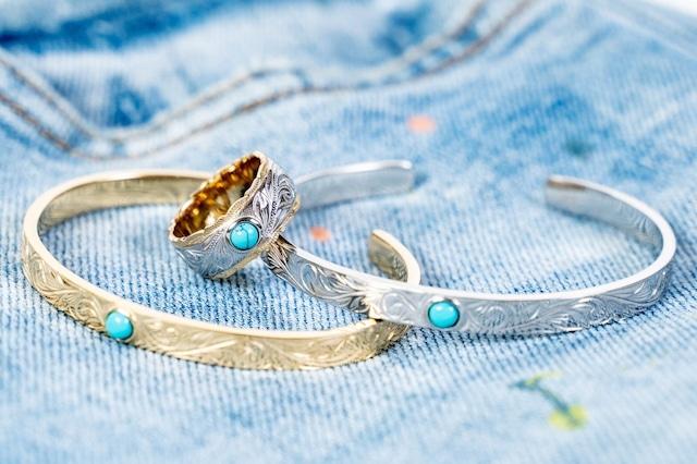 【316L Hawaiian turquoise bangle/ring】SET販売