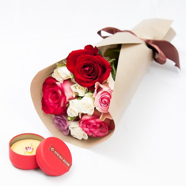 ローズキャンドルと花束