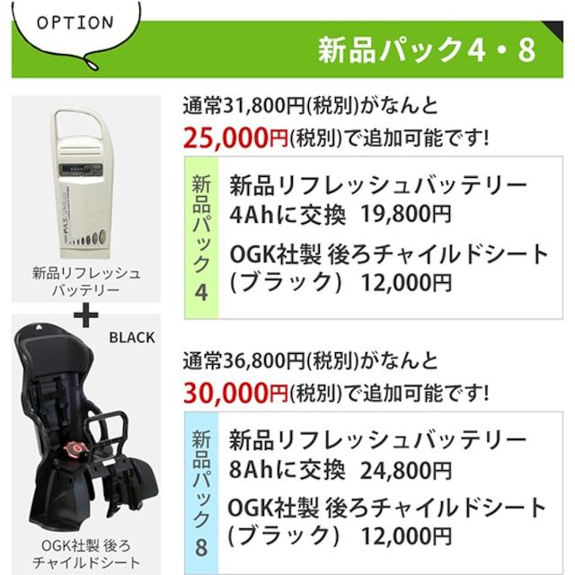 【オプション】新品パック8(新品リフレッシュバッテリー8AH&新品後ろチャイルドシート)