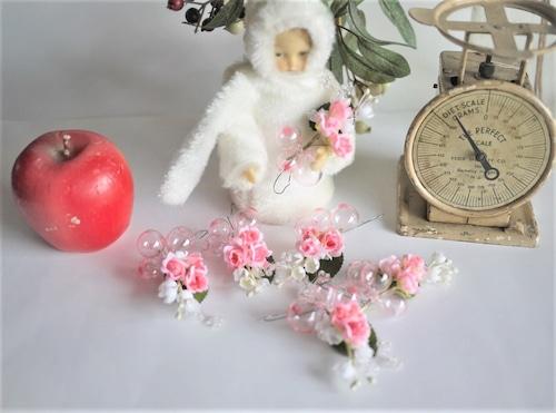 シャボン玉ガラスのオーナメント ピンクのバラ