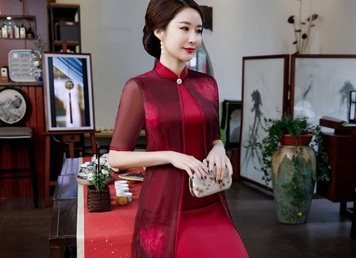 チャイナ風ドレス ひざ丈 刺繡 シースルー 結婚式 二次会 パーティー お呼ばれ wb069