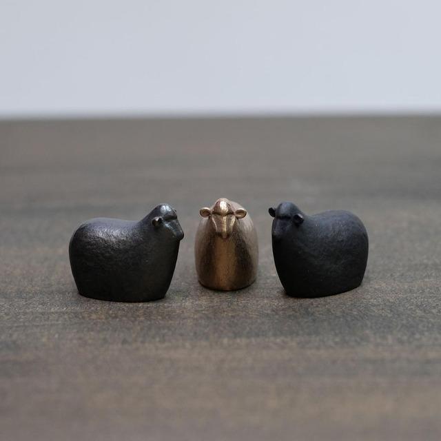 福ひつじ 十二支【 大寺幸八郎商店 】 肌(ゴールド)、茶、ブラック 置物、干支