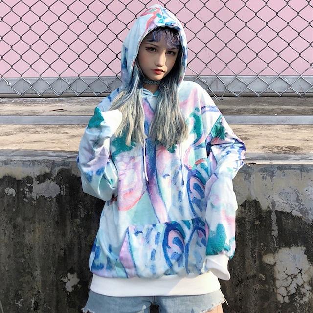 【トップス】ファッション長袖フード付き配色プリントパーカー/ジャージ43007364