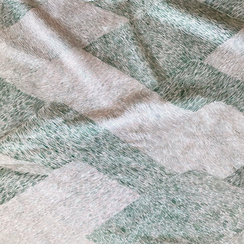< noyama >  mauve green  コットン生地  48cm x 50cm