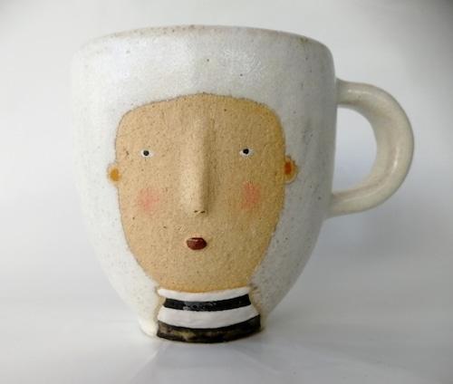 「Face マグカップ(ストライプ)」 馬岡智子