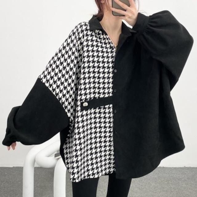 ラージサイズ千鳥格子シャツジャケット 【210268】