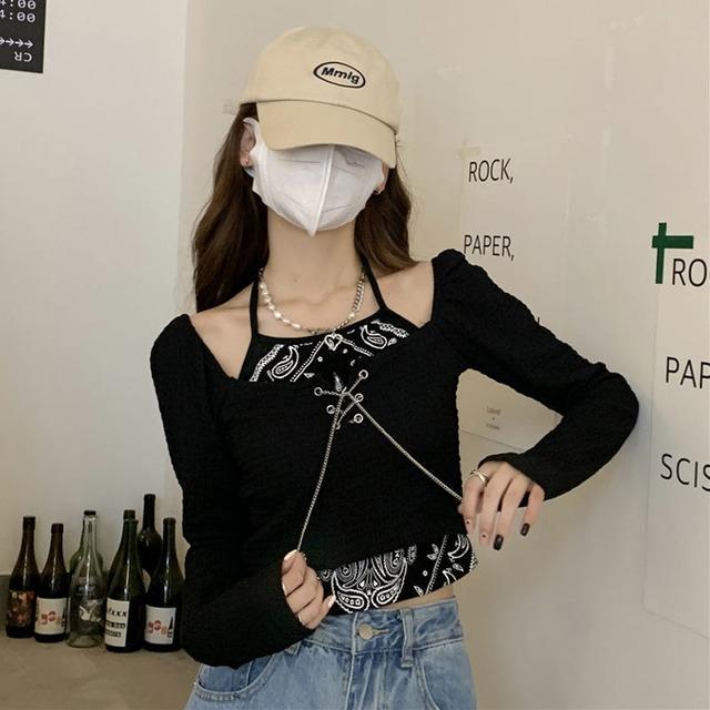【トップス】ファッションスリム細見せ,着痩せ切り替えし長袖Tシャツ52249776
